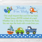 Transportation Vehicles Car Sailboat Printable Baby Shower Book Request Cards #A111