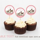Pink Willow Deer Girl Cupcake Toppers Party Favor Tags Editable PDF #A200