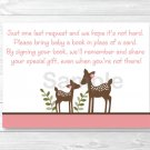 Pink Woodland Deer Printable Baby Shower Book Request Cards #A200