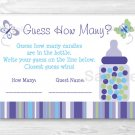 """Lavender Butterfly Garden Baby Shower """"Guess How Many?"""" Game Cards #A218"""