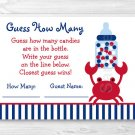 "Nautical Crab Baby Shower ""Guess How Many?"" Game Cards #A182"