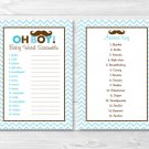 "Mustache Little Man Printable Baby Shower ""Baby Word Scramble"" Game Cards #A376"