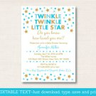 Twinkle Little Star Blue & Gold Printable Baby Shower Invitation Editable PDF #A391