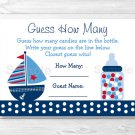 """Nautical Sailboat Blue & Red Baby Shower """"Guess How Many?"""" Game Cards #A123"""