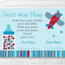 "Blue & Red Airplane Baby Shower ""Guess How Many?"" Game Cards #A283"