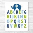 Lil Peanut Elephant Alphabet Boys Printable Nursery Wall Art #A294