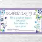 Butterfly Paradise Lavender Printable Baby Shower Diaper Raffle Tickets #A231