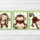 Pop Monkey Green Printable Nursery Wall Art #A125