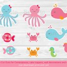 Pink Under The Sea Whale Octopus Party Cutouts Decorations Printable #A262