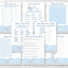 Nautical Whale Baby Shower Games Pack - 8 Printable Games #A331