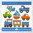 Transportation Vehicles Car Truck Sailboat Airplane Train Blue Orange Clipart #A111