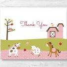 Pink Farm Animals Thank You Card Printable #A318