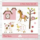 Pink Farm Animals Clipart #A318