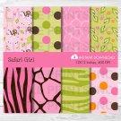 Safari Girl Jungle Animals Pink Giraffe Monkey Zebra Digital Paper #A229
