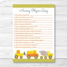 Construction Trucks Baby Shower Nursery Rhyme Quiz Game Printable #A117