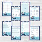 Nautical Pirate Whale Baby Shower Games Pack - 8 Printable Games #A287