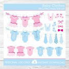 Pink & Blue Baby Clothesline Clipart #A389