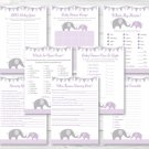Purple Chevron Elephant Baby Shower Games Pack - 8 Printable Games #A184