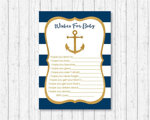 Nautical Gold Anchor Printable Baby Shower Wishes For Baby Advice Cards #A365