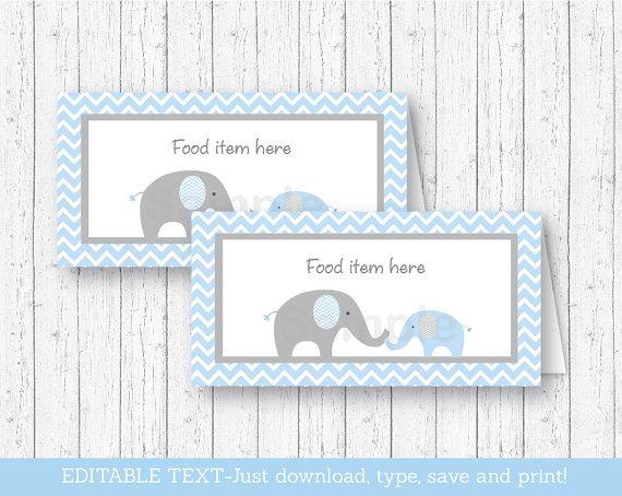Blue Chevron Elephant Buffet Tent Cards & Place Cards Editable PDF #A187