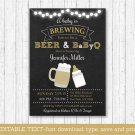 BaByQ Baby Is Brewing Beer & BBQ Printable Baby Shower Invitation Editable PDF #A371