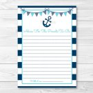 Nautical Anchor Printable Baby Shower Mommy Advice Cards #A222