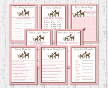 Pink Willow Deer Baby Shower Games Pack - 8 Printable Games #A200