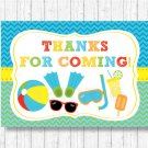 Boys Pool Party Printable Party Favor Thank You Tags #A343