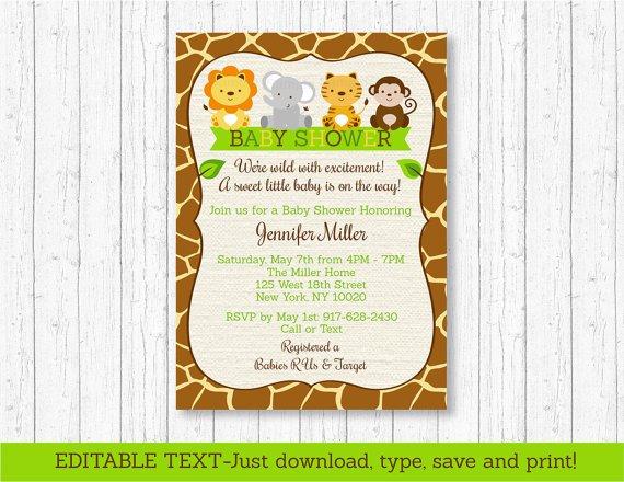 Cute Jungle Safari Animals Printable Baby Shower Invitation Editable PDF #A398