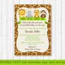 Cute Jungle Safari Animals Printable Baby Shower Invitation Editable PDF #A398
