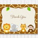 Cute Jungle Safari Animals Gender Neutral Thank You Card Printable #A398