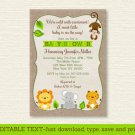 Cute Safari Jungle Animals Printable Baby Shower Invitation Editable PDF #A398