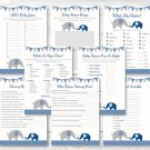 Navy Blue & Grey Chevron Elephant Baby Shower Games Pack - 8 Printable Games #A373