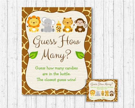 """Cute Jungle Safari Animals Baby Shower """"Guess How Many?"""" Game Cards #A398"""