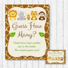"Cute Jungle Safari Animals Baby Shower ""Guess How Many?"" Game Cards #A398"