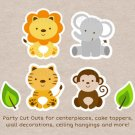 Cute Jungle Safari Animals Party Cutouts Decorations Printable #A398