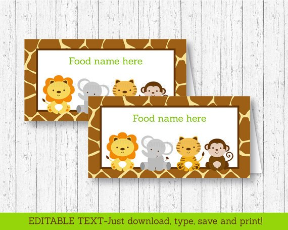 Cute Jungle Safari Animals Buffet Tent Cards & Place Cards Editable PDF #A398