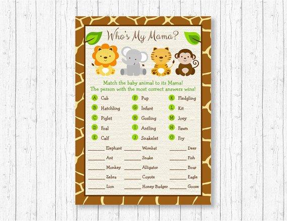 Cute Jungle Safari Animals Baby Shower Baby Animal Match Game Printable #A398