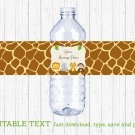 Cute Jungle Safari Animals Water Bottle Labels Printable Editable PDF #A398