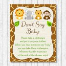 Cute Jungle Safari Animals Dont Say Baby Baby Shower Game Printable #A398
