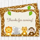 Cute Jungle Safari Animals Printable Party Favor Thank You Tags #A398