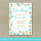 Oh Boy Blue & Gold Glitter Dots Printable Baby Shower Invitation Editable PDF #A399