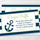 Nautical Anchor Blue & Green Printable Baby Shower Diaper Raffle Tickets #A394