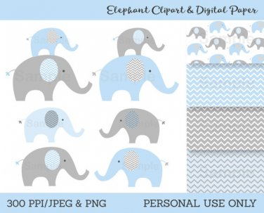 Blue & Grey Chevron Elephants Chevron Pattern Clipart & Digital Paper #A187