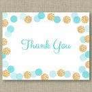 Blue & Gold Glitter Dots Thank You Card Printable #A399