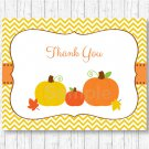 Pumpkin Chevron Gender Neutral Thank You Card Printable #A400