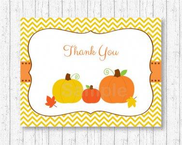 Pumpkin Chevron Gender Neutral Thank You Card Printable #A400