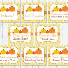 Pumpkin Chevron Gender Neutral Baby Shower Table Signs - 8 Printable Signs #A400