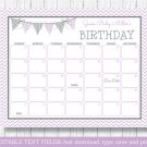 Purple & Grey Chevron Printable Baby Due Date Calendar Editable PDF #A370