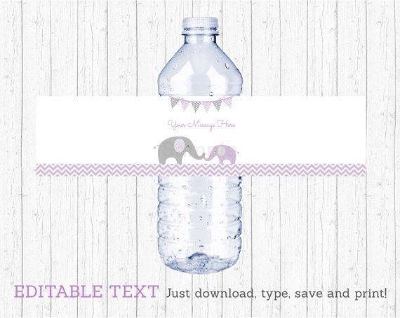 Purple Chevron Elephant Water Bottle Labels Printable Editable PDF #A184